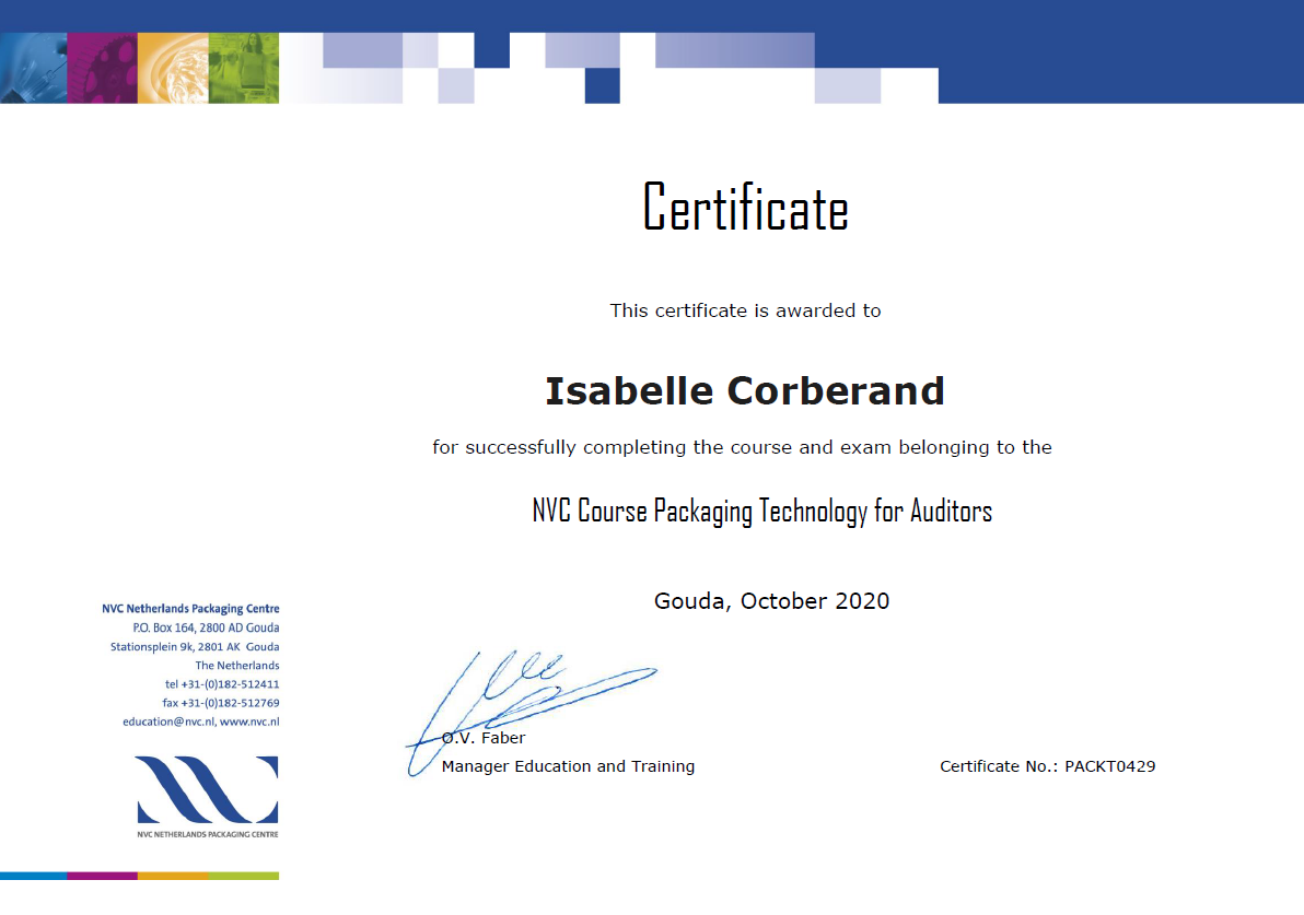 Packaging Auditor Certificate Isabelle Corberand 2020